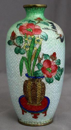 Japanese Meiji Cloisonne Cabinet Vase Ginbari Crane Floral Bouquet