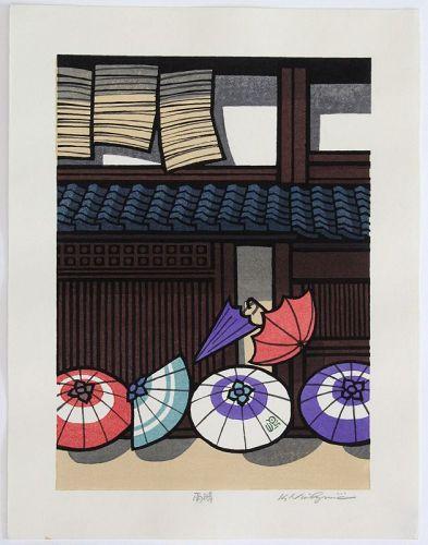 Japanese Woodblock Print Katsuyuki Nishijima Umbrellas Rain and Fine