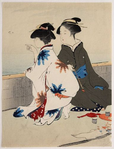 Japanese Meiji Kuchi-e Woodblock Print Kiyokata Gathering Shellfish