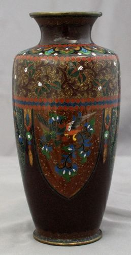 "Japanese 6"" High Meiji Cloisonne Vase Phoenix Dragon Goldstone"