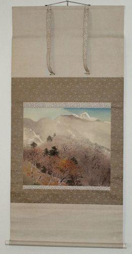 Japanese Showa Silk Scroll Painting Kawashima Baikan with Tomobako