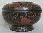 Large Japanese Meiji Lacquer Wood Chrysanthemum Jikiro