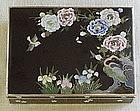 Japanese Meiji Black Inaba Cloisonne Box Bird Flowers