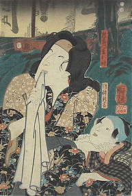 Japanese Edo Woodblock Print Kuniyoshi Beauty & Child