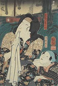 Japanese Edo Woodblock Print Kuniyoshi Beauty & Child