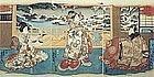Japanese Edo Woodblock Print Triptych - Kunisada Genji