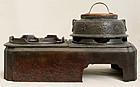 Japanese Cast Iron Hibachi Tea Pot Rack & Water Vessel