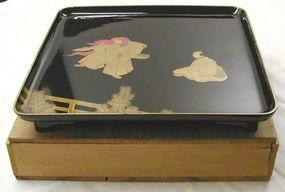 Japanese Nashiji Lacquer Tray Wood Box Noh Lion Dance