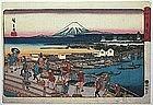 Japanese Edo Woodblock Print Hiroshige Nihonbashi Fuji