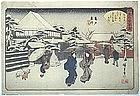 Japanese Edo Woodblock Print Hiroshige Kameido Snow
