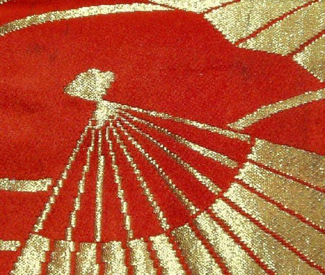 Japanese Silk Kimono Obi Textile with Gold Fan Motif