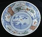 "10"" Diameter Japanese Meiji Imari Porcelain Bowl Pine Prunus Bamboo"