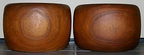 Pair of Japanese Copper Lined Kiri Wood Domaru Hibachi