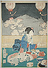 Japanese Edo Woodblock Print Kuniteru II Geisha Beauty