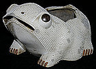 """Large Chinese Qing Ceramic Monochrome """"Ha Ma"""" Toad Frog"""