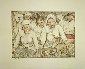Japanese Colored Etching Korea - Willy Seiler Haggling