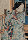 Japanese Edo Woodblock Print Kunisada Toyokuni III Beauty with Baby