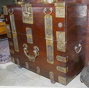 Korean Choson Yi Bandaji Chest Tansu Brass Hardware