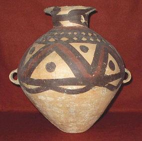 Chinese Neolithic Earthenware Yangshao Majiayao Burial Urn Guan