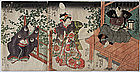 Japanese Edo Woodblock Print Triptych Kunisada Actors