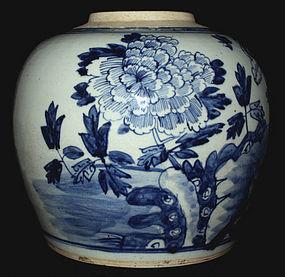 Chinese Qing Guangxu Blue & White Porcelain Ginger Jar Peonies Rockery