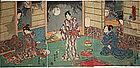 Japanese Edo Woodblock Print Triptych Kunisada II Genji