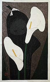 Japanese Sosaku Hanga Woodblock Print Kaoru Kawano Girl & Flowers
