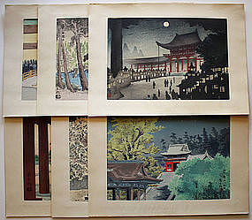Set 6 Japanese Woodblock Prints Tokuriki Famous Views
