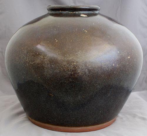 Large Chinese Ming Henan Brown Black Glazed Globular Storage Jar