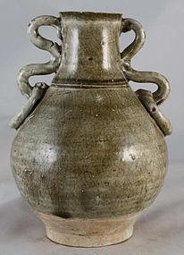 Chinese Yuan Dynasty Olive Crackle Glaze Porcelain Vase