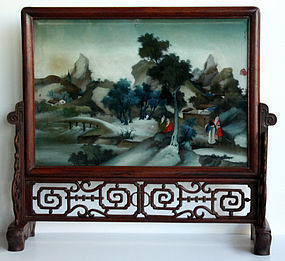 Chinese Qing Reverse Glass Painting Scholar's Hardwood Table Screen