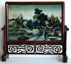 Chinese Qing Reverse Glass Scholar's Wood Table Screen
