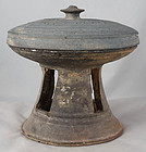 Korean Silla Stoneware Funerary Pedestal Bowl with Lid