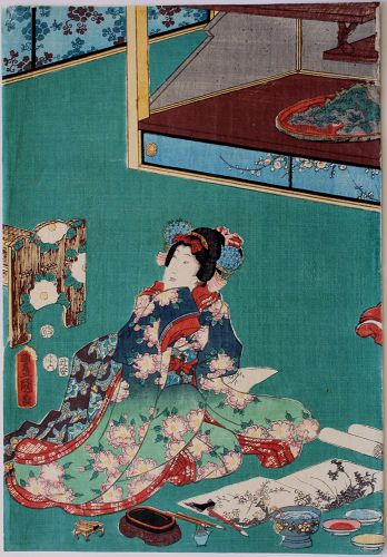 Japanese Edo Woodblock Print Kunisada Beauty Painting
