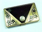 Art Deco Enamel Envelope Compact with MOP
