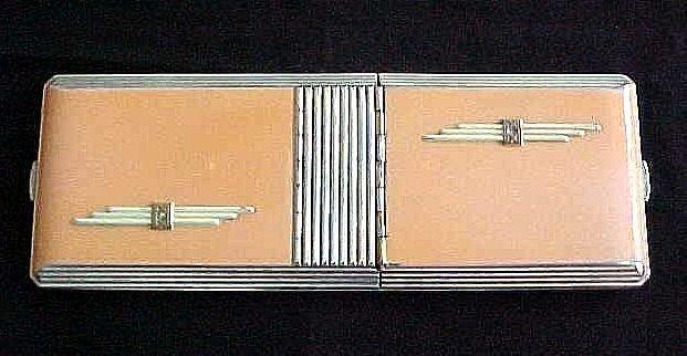 Rare Art Deco Combination Cigarette Case and Compact