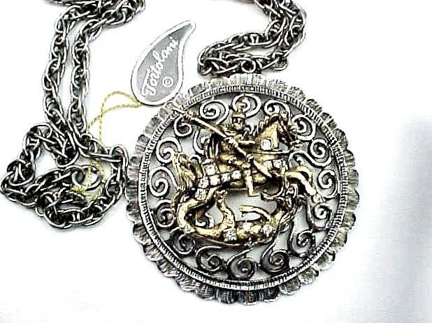 Tortolani St. George Pendant Necklace - New Old Stock
