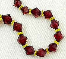 "Unusual 30"" Strand of Red and Yellow Beads"