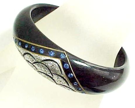 French Galalith Bangle with Glitter and Rhinestones