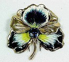 Nettie Resenstein Vermeil Enameled Pansy Dress Clip