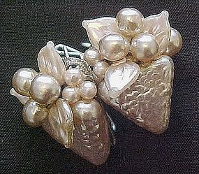Large Pearlized Grape Cluster European Back Earrings