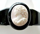 Whitby Jet Stretch Bracelet with Shell Cameo Center