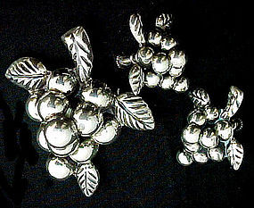 Mexican Sterling Grape Pin and Earrings