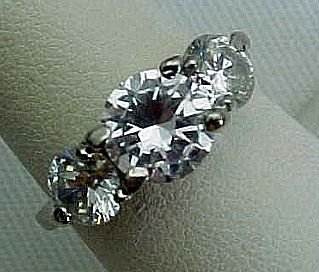 Cubic Zirconia Three Stone Band Ring
