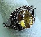 Art Deco GoldenTopaz in Sterling Ring