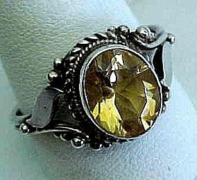 Art Deco GoldenTopaz in Sterling Ring