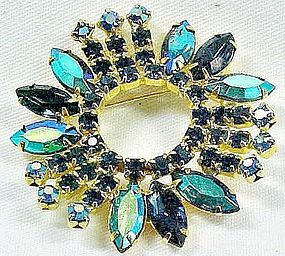Blue/Green Aurora Borealis Brooch - Very Striking