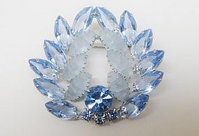Light Blue Unfoiled Glass Rhinestone Brooch
