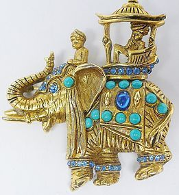 Hattie Carnegie Jeweled Elephant Brooch