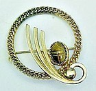 Catamore 12K GF Circle Brooch with Scarab